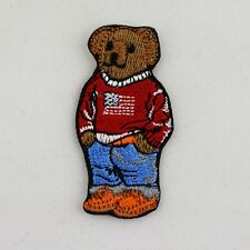 More details for iron on patch - polo american flag red sweater bear embroidered patch