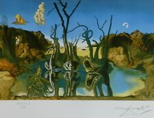 SALVADOR DALI SWANS REFLECTING ELEPHANTS HAND NUMBERED PLATE SIGNED LITHOGRAPH