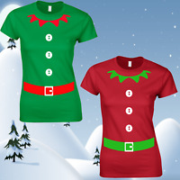 LADIES ELF T-SHIRT WOMENS TEE TOP CHRISTMAS FUNNY DESIGN JUMPER SANTA FESTIVE