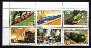 1993 Trains Se-Tenant Coirner Block of 6 with Tabs, Very Fine Used