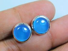 Dazzling Pure 925 Sterling Silver Ear Stud Earrings With Natural Aqua Chalcedony