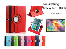 For Samsung Galaxy Tab S (10.5) Screen Protector/ Rotating PU Leather Case Cover