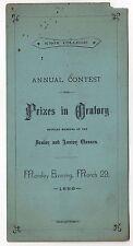 RARE 1886 KNOX COLLEGE Oratory Prize Program GALESBURG ILLINOIS John Finley IL