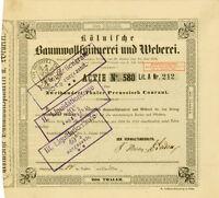 1856 Kölnische Baumwollspinnerei + Weberei Köln Gründeraktie Mevissen Oppenheim