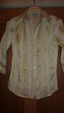 H&M Ladies Tailored UK 10 Shirt WHITE GREEN Stripe SMALL Modern Chic LTD FAB!!