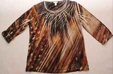 Chico's 3/4 Sleeve Shirt Top, sparkles, faux gemstones, sz 1 (women's medium/8)