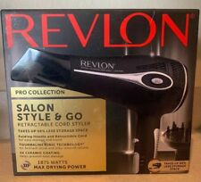 Revlon Pro Salon Style & Go Hair Dryer Retractable Cord Folding handle 1875 watt