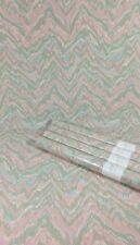 Vintage Wallpaper Wavy Chevron Stripe Pink Green White Blue Abstract 4 Roll Lot