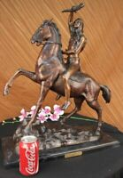Vintage Style Bronze Sculpture Statue on Marble - Scalp By Frederic Remington NR