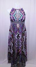 INC Plus Size Beaded Couture Paisley Multi Print Halter Midi Dress 0X #4826