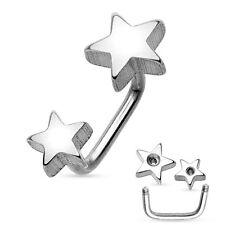 Double Stars IP Surgical Steel Curve Bar Eyebrow Ring Loop Piercing