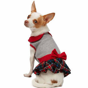 Martha Stewart Pets® Holiday PETER PAN Dog Dress Plaid Hook/Loop Easy On/Off