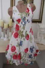 Sommer Blumen Kleid Leinen Optik Hippie Träger Volant Lagenlook Weiß 36 38 40