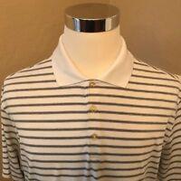 Nike Golf Dri-Fit Mens Size L Striped Polo Swoosh on Short Sleeve Shirt