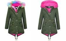 NEW Girls Kids Rainbow Pink Parka Winter Jacket Coat Age 5 6 7 8 9 10 11 12 13