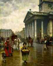 St Martin in the Fields by William Logsdail - Victorian London 8x10 Print 1859