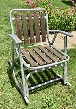 Vtg Mid Century modern Folding Aluminum Red Wood Slat Rocking Lawn Chair Rocker