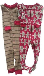 Gymboree Set of 2 Boys Girls Unisex Gingerbread One Piece Zip Button Up Outfit