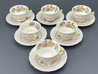 """6 Vintage Royal Doulton """"Grantham"""" D5477 Demitasse Cup&Saucer 1934-1964 England"""