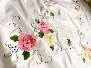 """VINTAGE HAND EMBROIDERED APPLIQUÉ PINK BLUE GREEN WHITE COTTON TABLECLOTH 67X50"""""""
