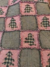 NEW PriMiTive Rag Quilt Throw Red Green Trees Plaid Country Christmas Farmhouse