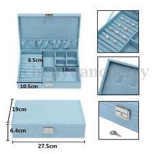 Large Jewelry Watch Necklace Storage Box Cabinet Organizer Drawer Mirror Case