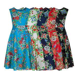 Floral 1940's Vintage Retro Lightweight Cotton Tea Dress 5 Colours New 8 - 20