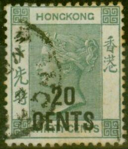 Hong Kong 1891 20c on 30c Grey-Green SG45a Good Used