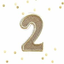 Light Gold Glitter 2nd Birthday Candle Number 2 Gold White Cake Topper Two