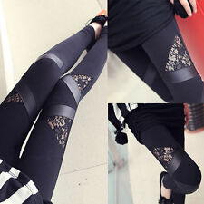 Sexy Womens Black Lace Splice Leggings Fitness Stretch Pencil Pants Trousers Kit