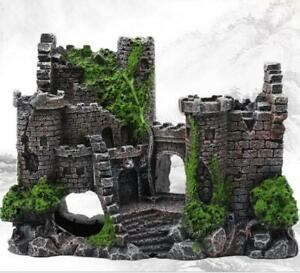 Artificial Fish Tank Ancient Castle Tower Landscaping for Aquarium Rock Cave