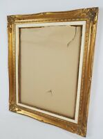 Vintage Gold Carved Wood Gesso And Linen French Provincial Picture Frame