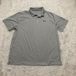 Under Armour Polo Shirt Mens 2XL XXL Gray Striped
