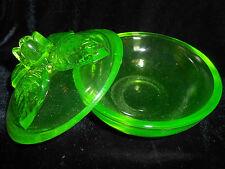 Green Vaseline Uranium glass rose floral flower powder jewelry box / candy dish