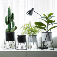 Plant Flower Pot Shelf Geometry Iron Succulent Rack Stand Indoor Home Decor