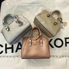 Michael Kors Glitter Ciara XS Mini Crossbody Purse Giftables rose gold silver