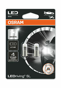 Osram LED T4W Cool White 6000K Bulbs BA9s 12v 1W (233 4W) 3893DWP-02B Twin Pack