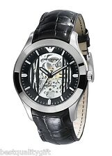 EMPORIO ARMANI BLACK LEATHER AUTOMATIC MECHANICAL/MECCANICO WATCH-AR4648