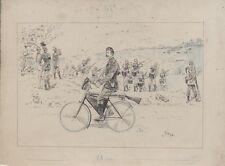 """""""CYCLISTE MILITAIRE"""" Dessin de presse original vers 1896 DIEGO 32x23cm"""