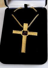 """NEW Gold Plated PECTORAL CROSS w/PURPLE Crystal Stone, 36"""" Chain, Christian"""