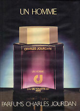 "PUBLICITE  ADVERTISING 1980   CHARLES JOURDAN  parfum  "" UN HOMME"""