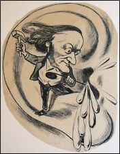 Richard WAGNER (Composer): Original Caricature Drawing by Andre GILL