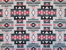 Navajo Native American Gray Red Overall Print Cotton Fabric FQ