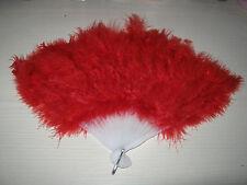 LUXURY  FEATHER FAN FOR FANCY DRESS- RED COLOUR.