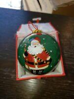LI BIEN 3 Different Santa Claus Reverse Handpainted Glass Christmas Ornament