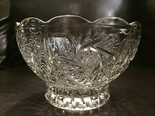 Large Pedestal Lead Crystal Heavy Clear Glass Diamond Cut Design Serving Bowl