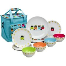 Flamefield Camper Smiles VW 12pc Melamine Dinner Set + Cool Bag