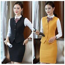 Women 2PCS Formal Waistcoat Bodycon Skirt Suit Set Slim Fitted OL Work Wear New