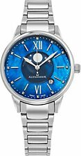 Alexander Monarch Vassilis Moon Phase MOP Women Swiss Quartz SS Watch AD204B-02