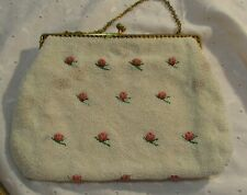 New listing Vintage White Beaded Prom Wedding Evening Bag Embroidered Pink Roses Hong Kong